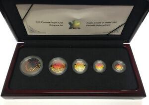 2002 Canada Platinum Maple Leaf 5 Coin Hologram Set 60/500