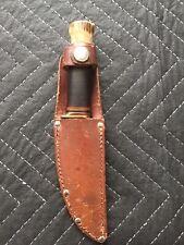 Vintage Marbles Gladstone Knife + Sheath, Antler Stag Pommel, Fixed Blade