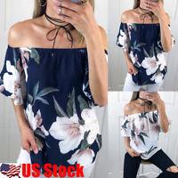 Womens Floral Backless Off Shoulder Loose Blouse Ladies Summer Short Sleeve Tops