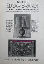 Publicite ART DECO EDGAR BRANDT FERRONNERIE D'ART 1927