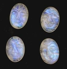 ONE 18x13 Natural Carved Oval Rainbow Moonstone Face Gem Gemstone Cabochon 6242