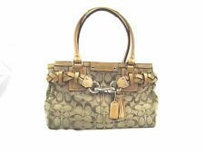 Coach Purse Handbag Tote Satchel Leather Canvas tan/gold Signature C Fabric