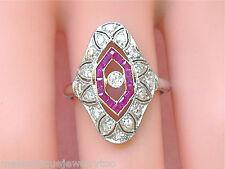 Platinum Cocktail Right-Hand Ring 1930 Antique Art Deco .65ctw Diamond Ruby