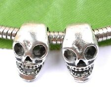 20pcs tibetan silver skull charm spacer beads 14X9MM  JK1150