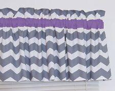 Purple and Gray Chevron Window Valance Zig Zag Bath Bedroom Nursery FREE SHIP