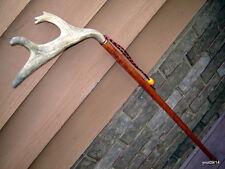 FullCrown FALLOW DEER ANTLER mahogany/hardwood shaft walking-stick/cane~log home
