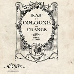 WATER DECAL: French Perfume Eau de Cologne Ad (Furniture Print Transfer) #021