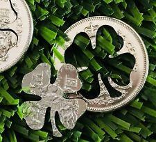 Canada Good Luck Four Leaf Clover Golf 50c Cut Coin Half Dollar Ball Marker
