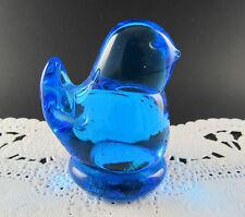 VINTAGE BLUE GLASS BIRD OF HAPPYNESS FIGURINE SIGNED (E17)