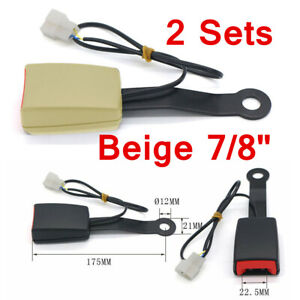"""2x 7/8"""" Car Safety Seat Belt Buckle Socket Plug Connector W/Warning Cable Beige"""