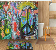Graffiti Wall Waterproof Bathroom Polyester Shower Curtain Liner Water Resistant