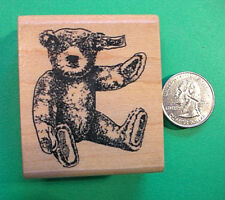 Collector Teddy Bear Rubber Stamp, Wood Mounted