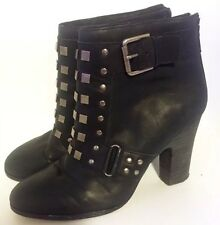 Colonial Madness LD TUTTLE Black Silver Stud Leather Zip Ankle Boots 8.5 Bootie