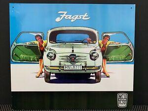 Retro Sign:1956 1957 Fiat Jagst 600, Tin Poster Print Sign for Garage Home Shop