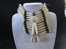 WHITE BREASTPLATE CHOKER BUFFALO BONE JEWELRY NECKLACE   REGALIA TRIBAL
