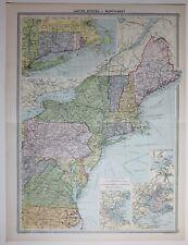 1920 Mappa di grandi dimensioni Uniti Norh-EAST NEW YORK Harbour Maine Boston Virginia