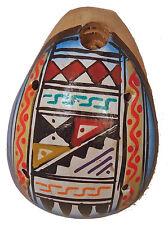Hand-Painted Peruvian Ceramic 6-HOLE OCARINA FLUTE Inca Geometric Motifs (2676A)