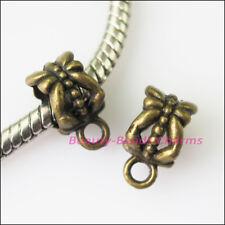 10Pcs Antiqued Bronze Flower Bail Bead Fit Bracelet Charms Connectors 6.5x11.5mm