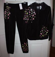 NWT Girls Justice Brown Sequined 2-PC Track Suit Sweater & Pants Set Size 18/20
