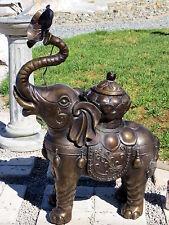 "Vintage 30.5""Tx22.5""L BRASS ELEPHANT Statue w Jar,Trunk Near BIG FLOWER UNIQUE!"