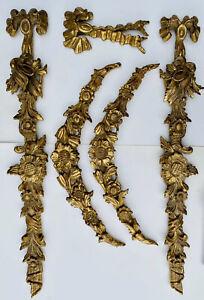 ANTIQUE SET OF 5 P. DE LUCA ITALIAN FLORENTINE HAND CARVED GOLD GILTWOOD SCONCES