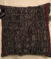 Chaps Home Hudson River Valley Cable Knit Black & Red 16 X 16 in. Throw Pillow