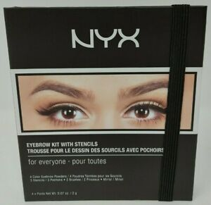 NYX Eyebrow Kit With Stencils For Everyone 4 Colours 3 Stencils 2 Brushes