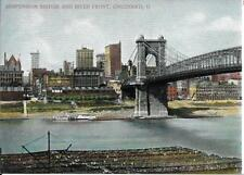 Suspension Bridge and River Front Cincinnati O OH Vintage Postcard not used
