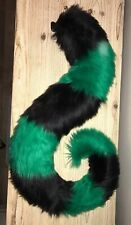 """Handmade Large Fursuit Furry Tail Green And Black Bouncy 27"""" (curled)"""