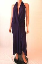 Haute Hippie Grape Halter Sleeveless Open Back Wrap Dress Without Belt