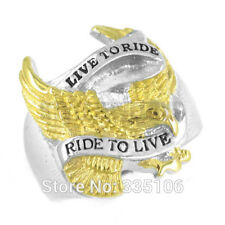 LIVE TO RIDE / RIDE TO LIVE BIKER Stainless Steel Ring GOLD POLISH EAGLE SIZE 11