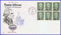 USA3 #1278 U/A COVER CRAFT FDC BL6  Thomas Jefferson
