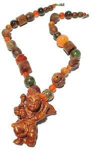 CHINESE CARVED BEAD FIGURE NATURAL STONE ARTISAN CLASP NECKLACE AGATE INLAY