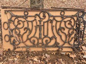 antique cast iron balcony railing, 29 ln feet, black, 4-pc 5'4, 1-pc 7'4, 1-pc 2