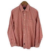 Gazman Mens Button Up Shirt Size Large Orange White Plaid Long Sleeve Collared