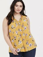 Torrid Womens Challis Pintuck Tank Top Size 2 2X Yellow Floral Blouse Shirt Top