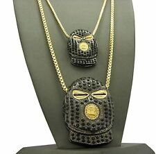 """Iced Out Goon Mask Double Pendant & 24"""", 30"""" Box Chains Hip Hop 2 Necklace Set"""