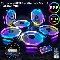 6X Fans PC Computer Case RGB 12cm Cooling Fan Symphony AURA SYNC Remote