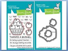Lawn Fawn Photopolymer Clear Stamp & Die Combo ~ THANKS A BUSHEL ~LF1208, LF1209