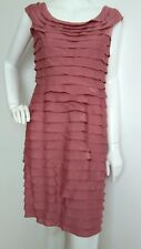 Designer ADRIANNA PAPELL tiered cocktail dress size 12 --VGC-- rose knee length