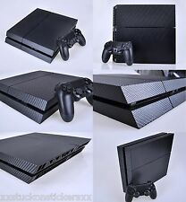 PS4 Skin Carbon Fibre Style Textured Vinyl Decal Console + 2 Controllers Sticker