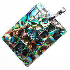 """Mother of Pearl Natural Abalone Sea Shell Rectangle Pendant 1 5/8"""" Jewelry #06-Z"""