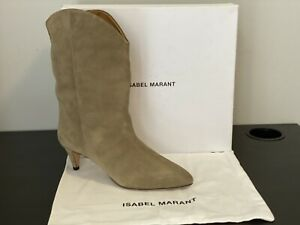 ISABEL MARANT DERNEE TAUPE SUEDE LEATHER ANKLE BOOTS, SIZE 40