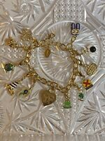 VTG Bowling Charm Bracelet 12 Charms Overflowing Gold