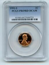 1991 S 1C Lincoln Cent Proof PCGS PR69DCAM