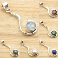 925 Silver Plated UNISEX Pendant ! Natural Gemstone Jewelry Brand New