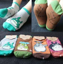 4 Pairs Anime Totoro Pattern Girl Adult Cotton Short Socks Hosiery One Size