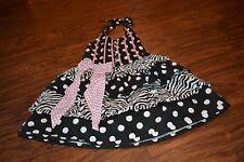 C7- Bye Bye Birdie Black, White & Pink Polka Dot Halter Dress Size 4