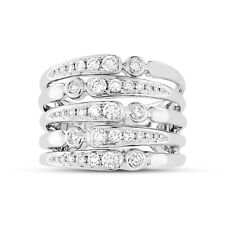 0.75Ct 14K White Gold Round Diamond Wide Cocktail Right Hand Multi Row Band Ring