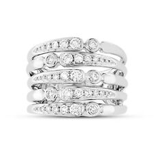 Cocktail Right Hand Multi Row Band Ring 0.75Ct 14K White Gold Round Diamond Wide